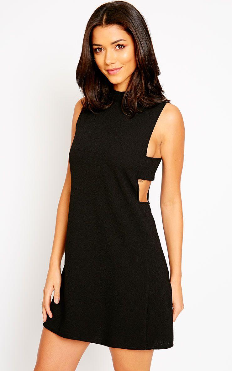 Rina Black Cut Out Tabard Dress 1