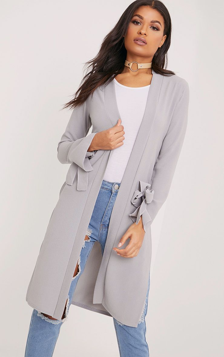 Aba Grey Sleeve Tie Detail Duster Coat