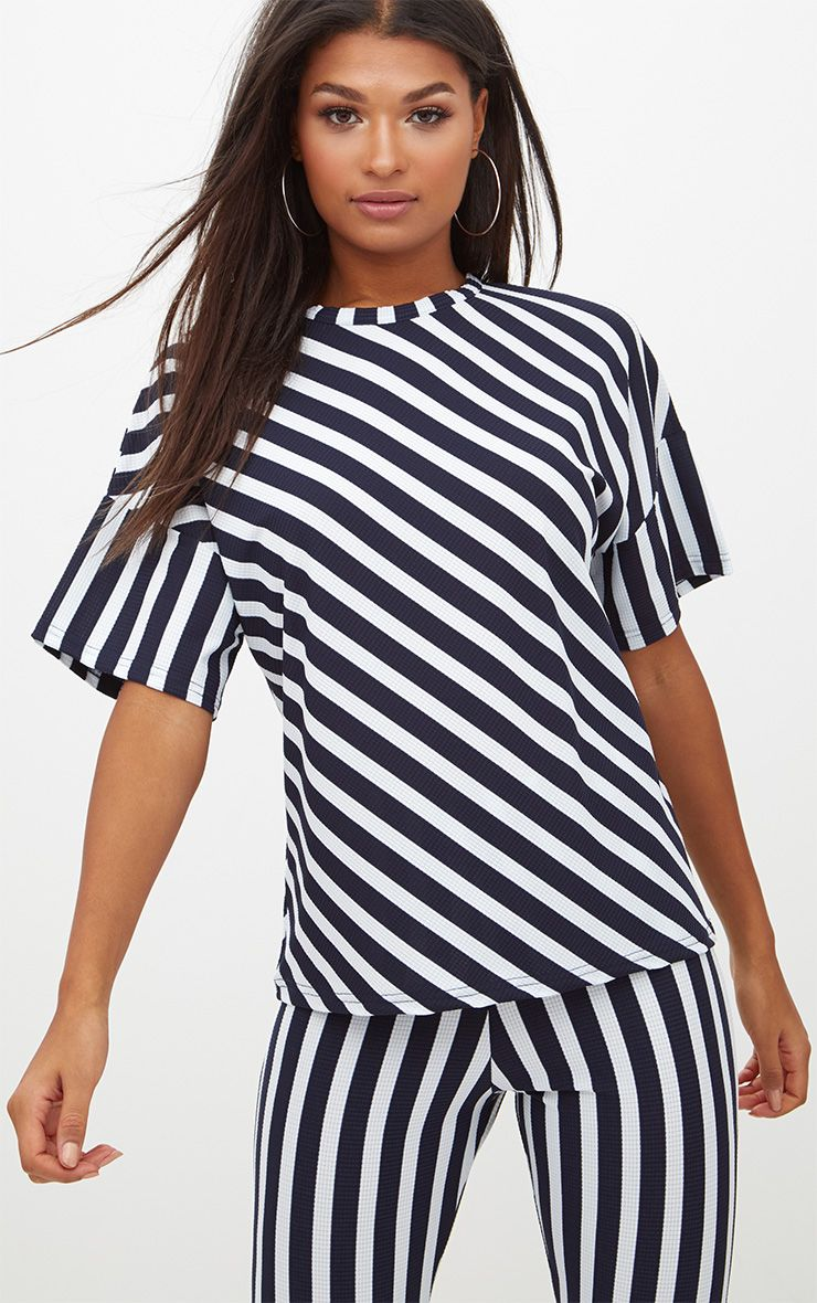 Blue Vertical Stripe Oversized T Shirt
