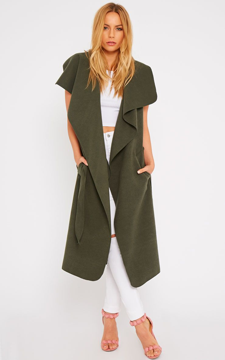 Valerie Khaki Sleeveless Waterfall Coat  1