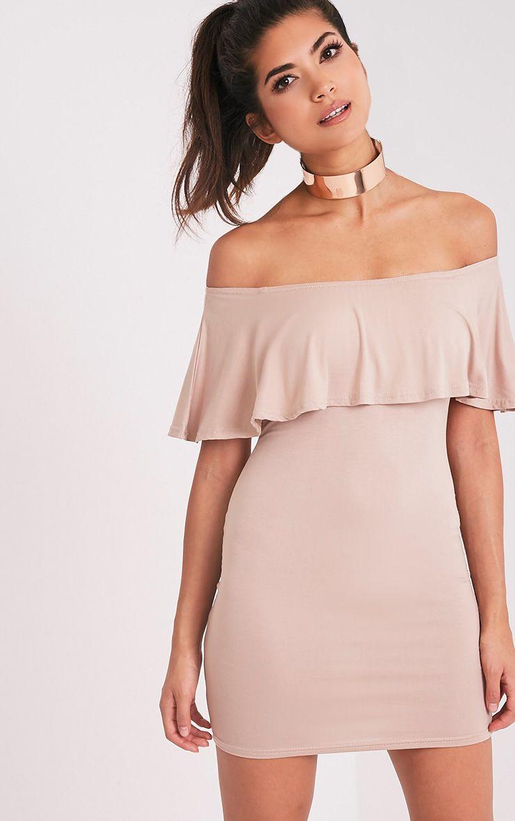 Sereen Nude Frill Bardot Bodycon Dress 1