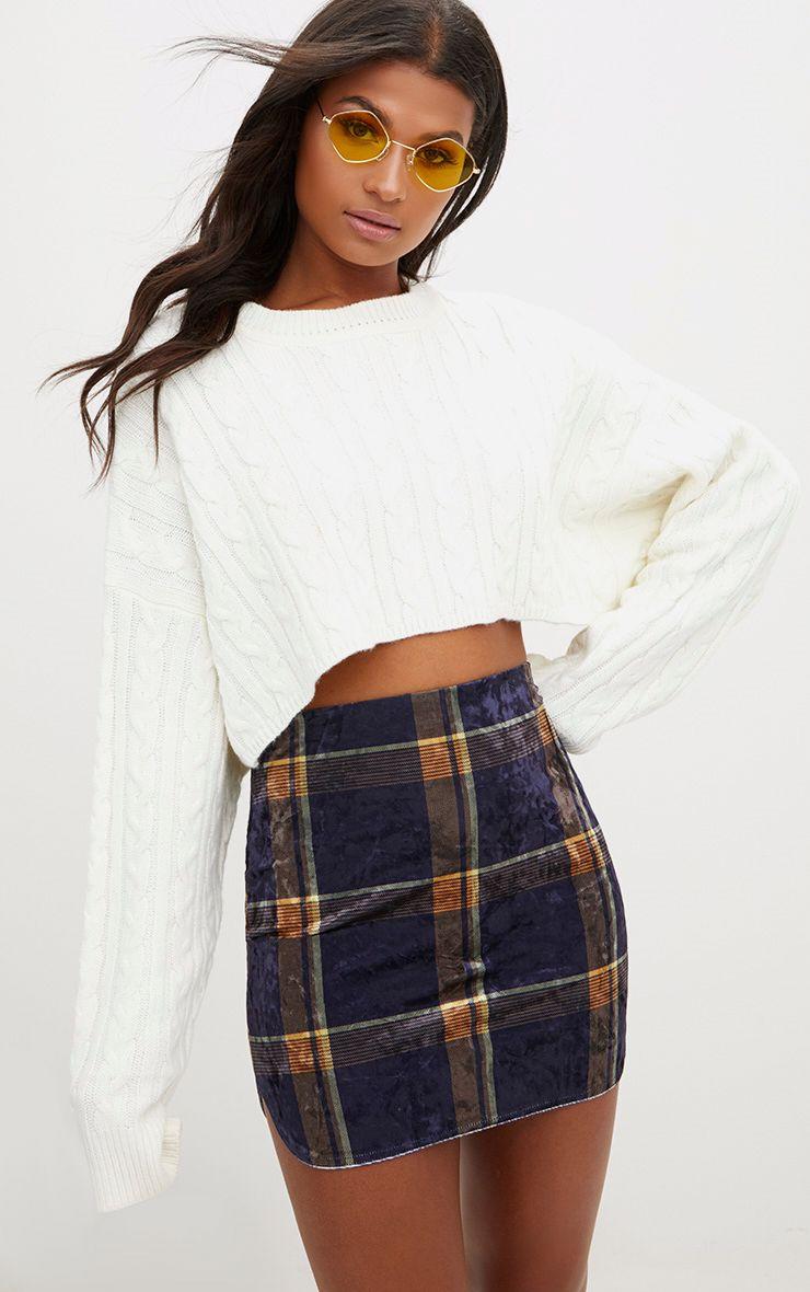Navy Velvet Check Split Mini Skirt