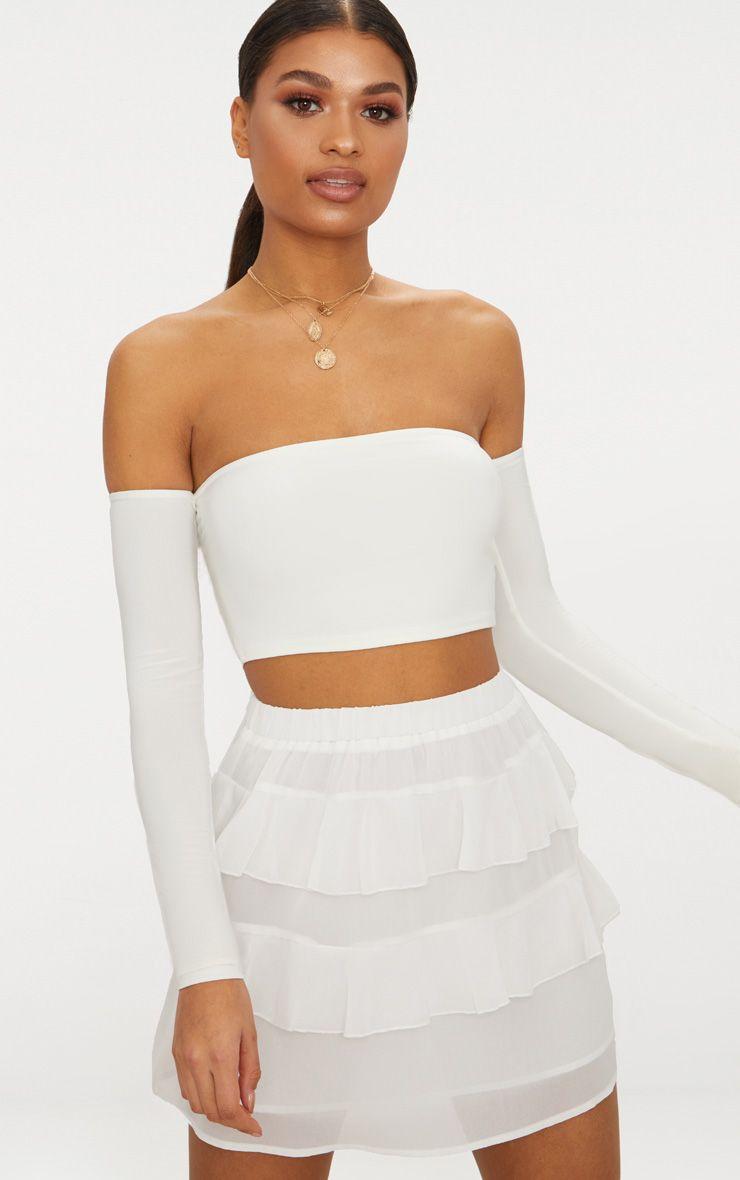 White Chiffon Ruffle Mini Skirt