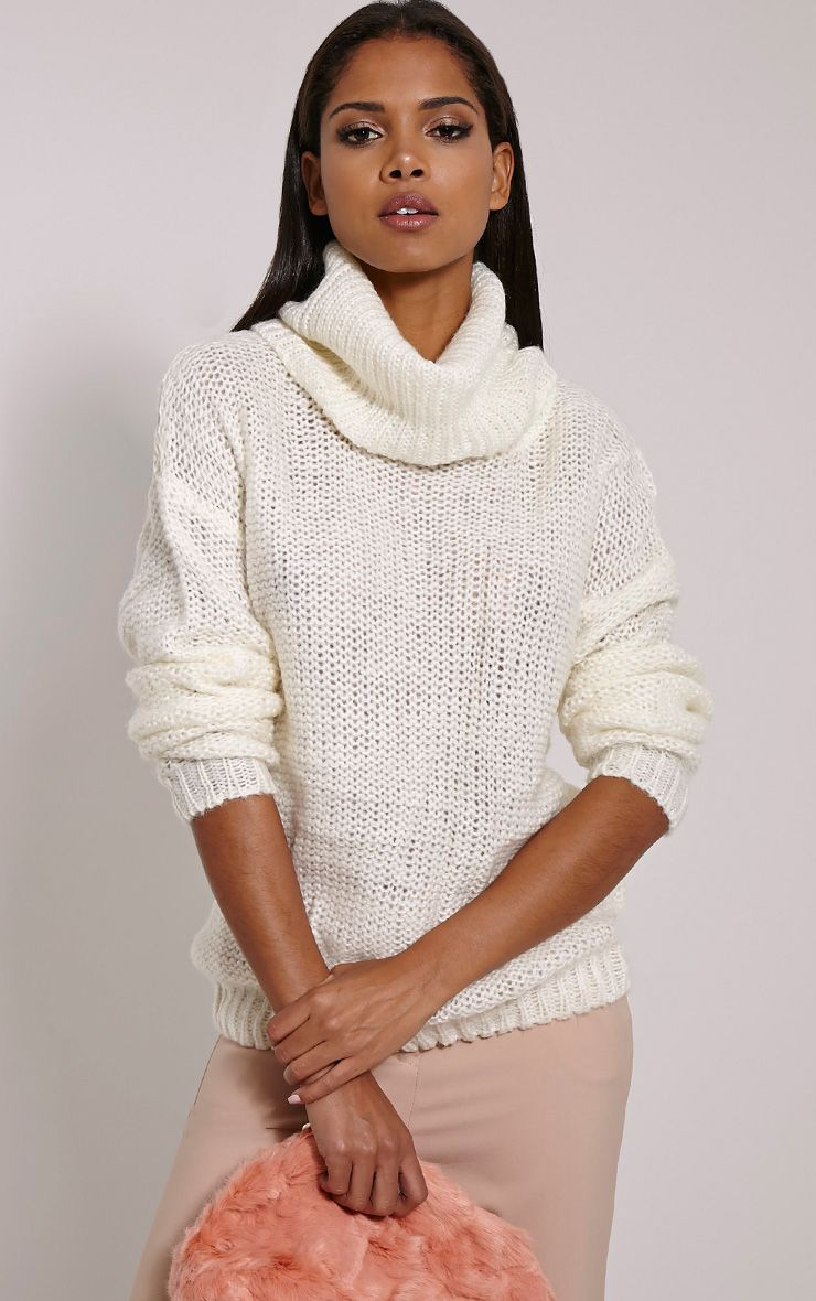 Lucia Cream Oversized Knitted Jumper 1