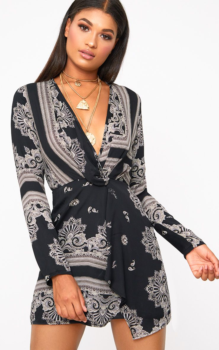 Black Printed Satin Long Sleeve Wrap Dress
