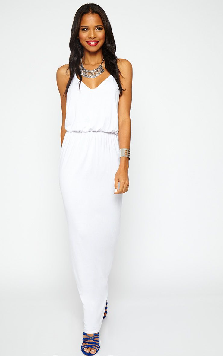 Emillie White T-Bar Back Jersey Maxi Dress 1