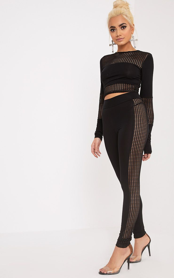 Wanita Black Fishnet Panel Leggings