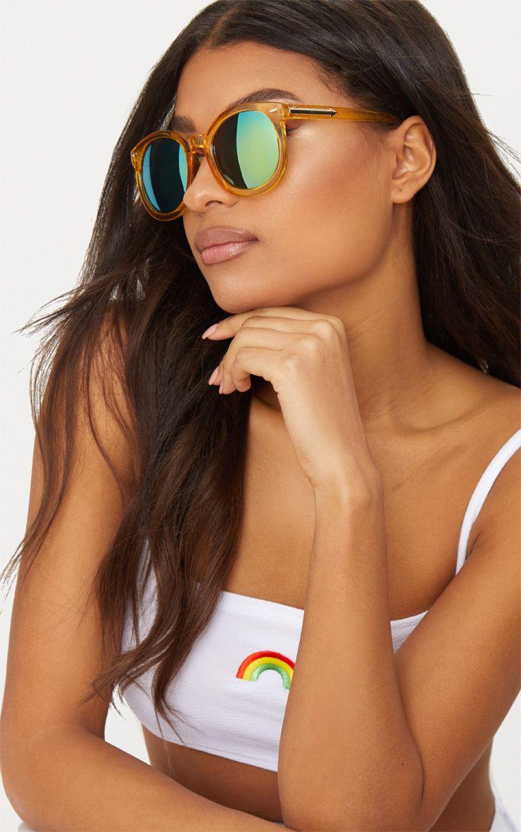 Yellow Acrylic Frame Rounded Sunglasses
