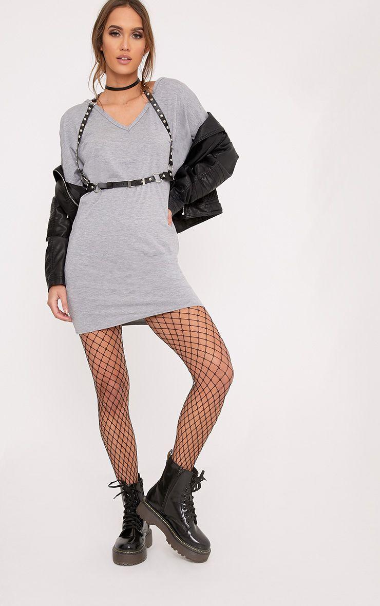 Basic Grey V Neck T Shirt Dress Dresses
