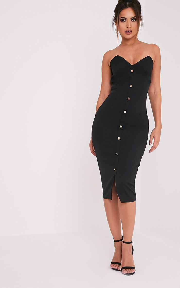 Casara Black Button Detail Bandeau Midi Dress