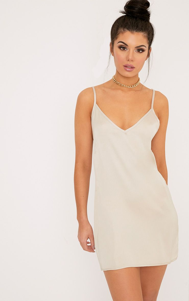 Ameera Champagne Satin Slip Dress 1