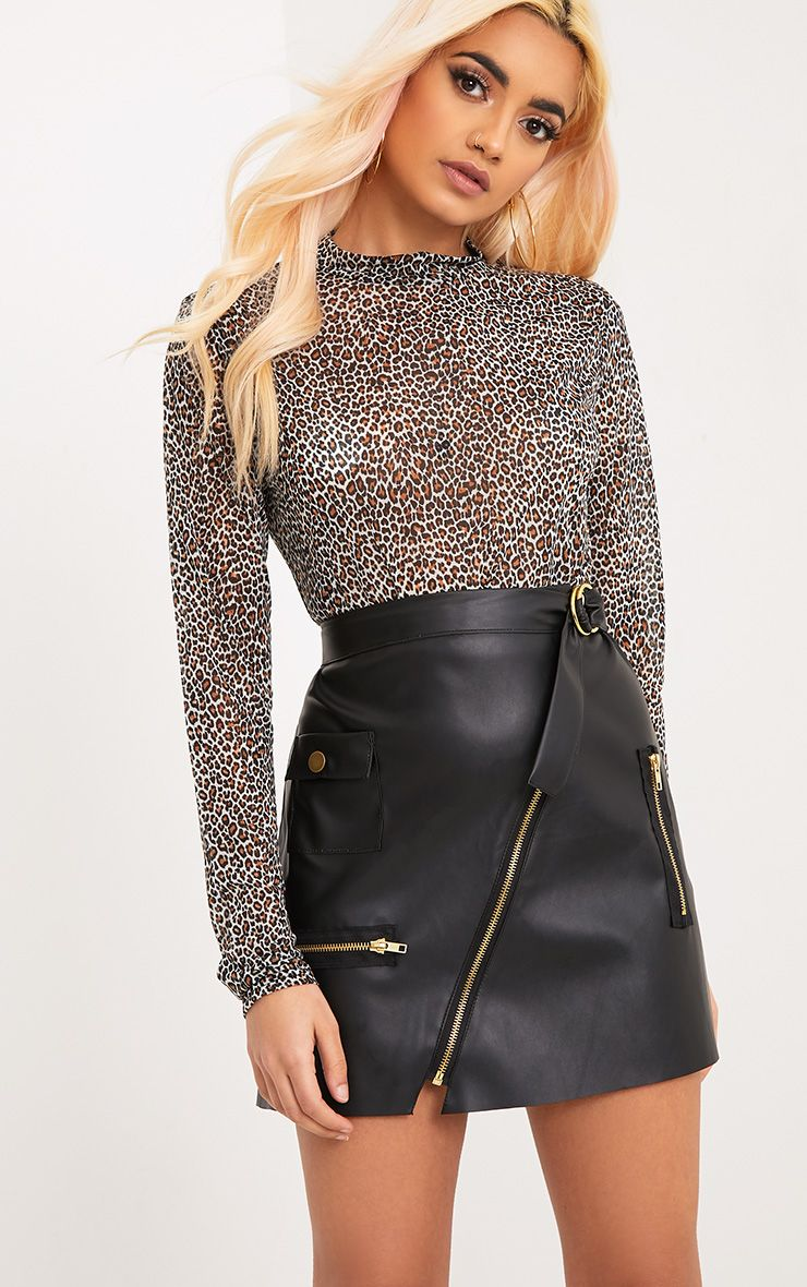 Myra Black Faux Leather Biker Mini Skirt