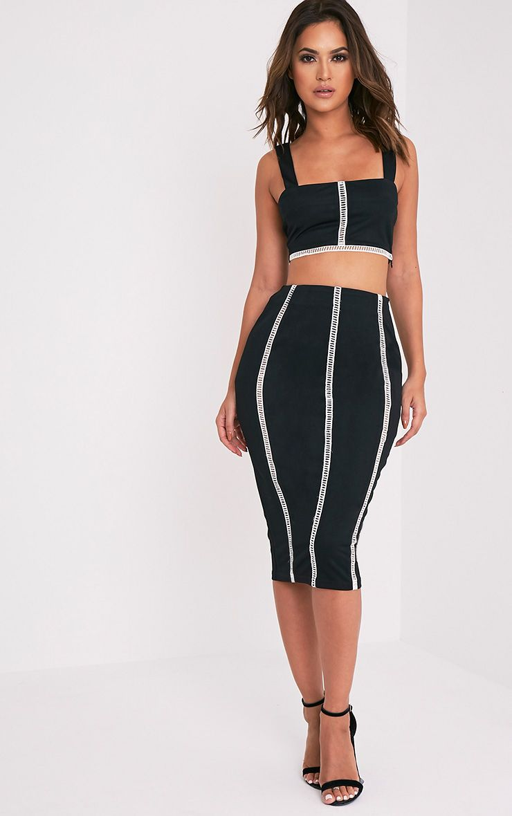Bethy Black Ladder Detail Midi Skirt