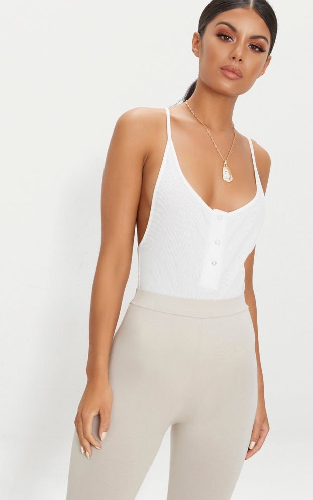 Cream Rib Popper Front Scoop Back Thong Bodysuit Pretty Little Thing 100% Authentic For Sale Buy Cheap Clearance Free Shipping Cheapest Price 9FueC