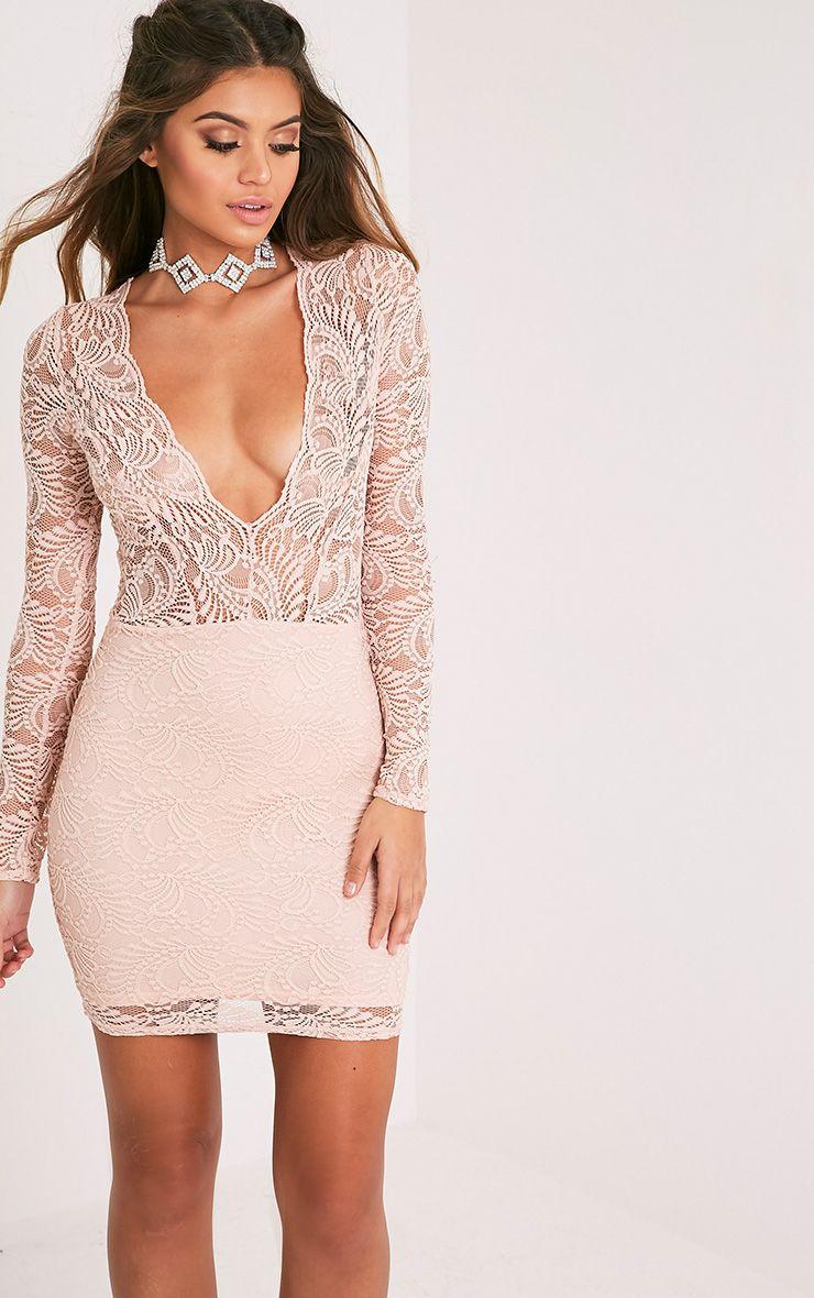 Sereenia Nude Long Sleeve Lace Bodycon Dress 1