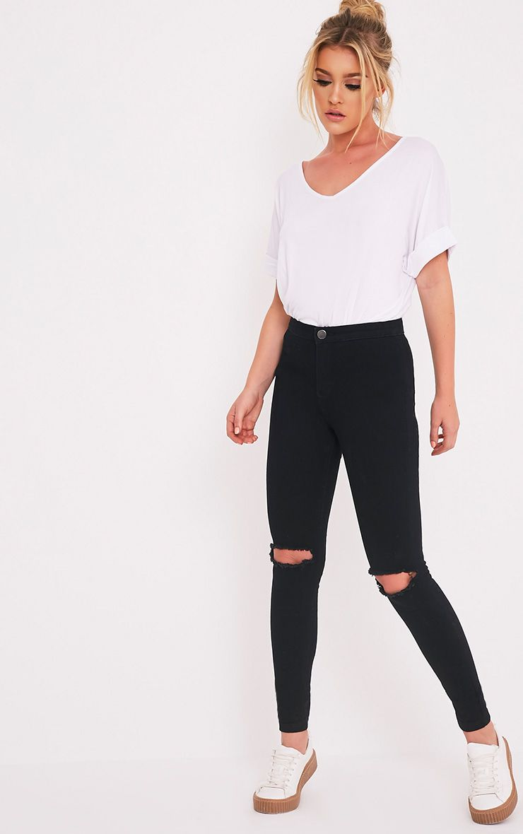 Kylie Black Knee Rip High Waisted Skinny Jean