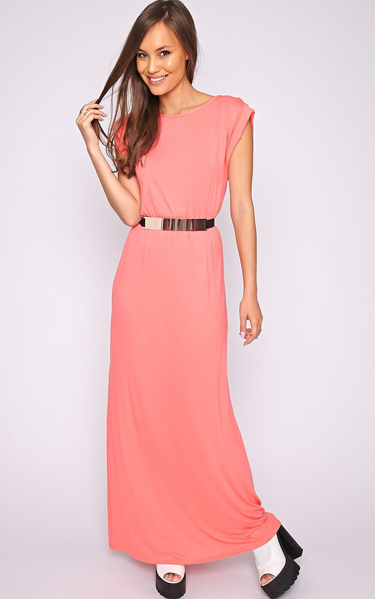 Liberty Coral Tshirt Maxi Dress 1