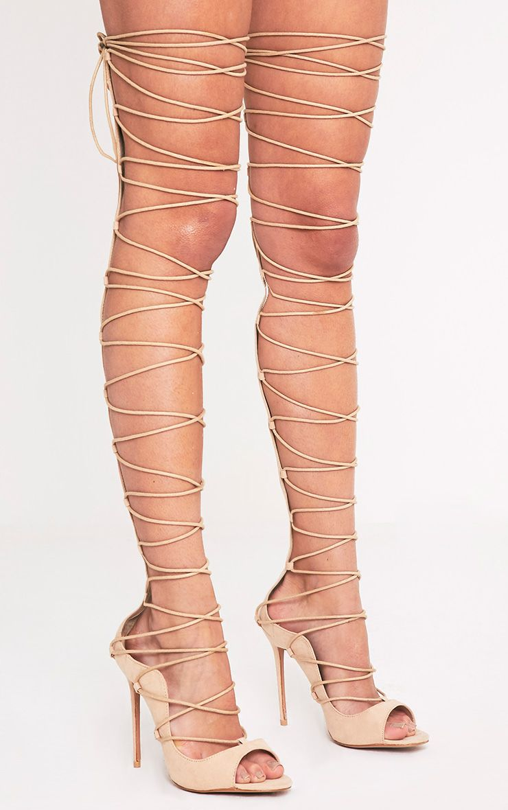 Colleen Nude Thigh High Lace Up Heeled Sandals