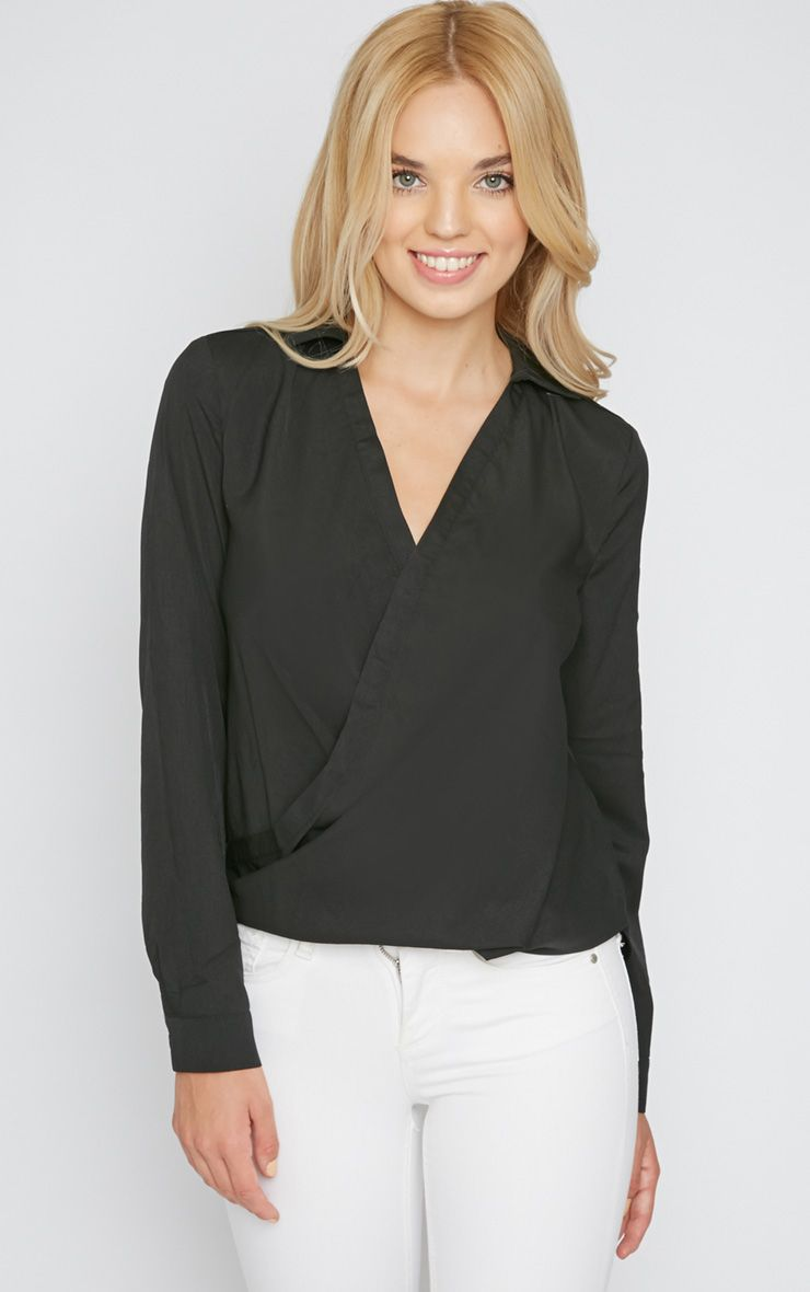 Gena Black Cross Over Shirt  1