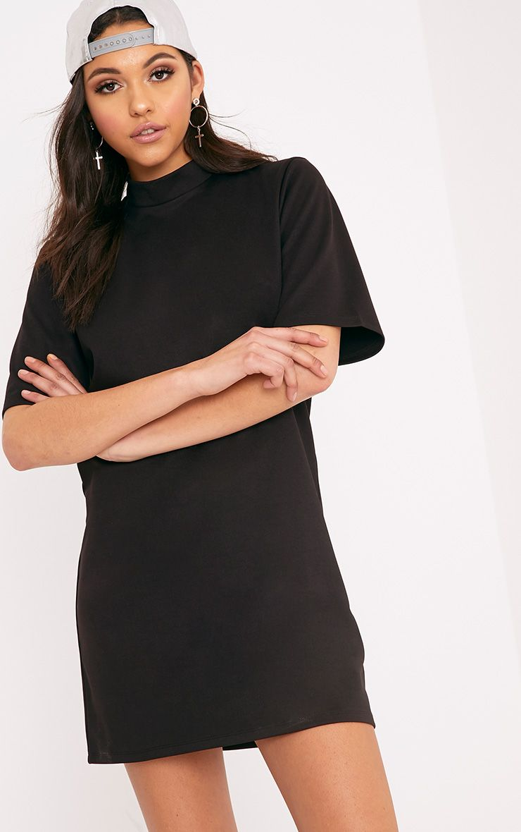 Erennie Black Scuba High Neck Shift Dress