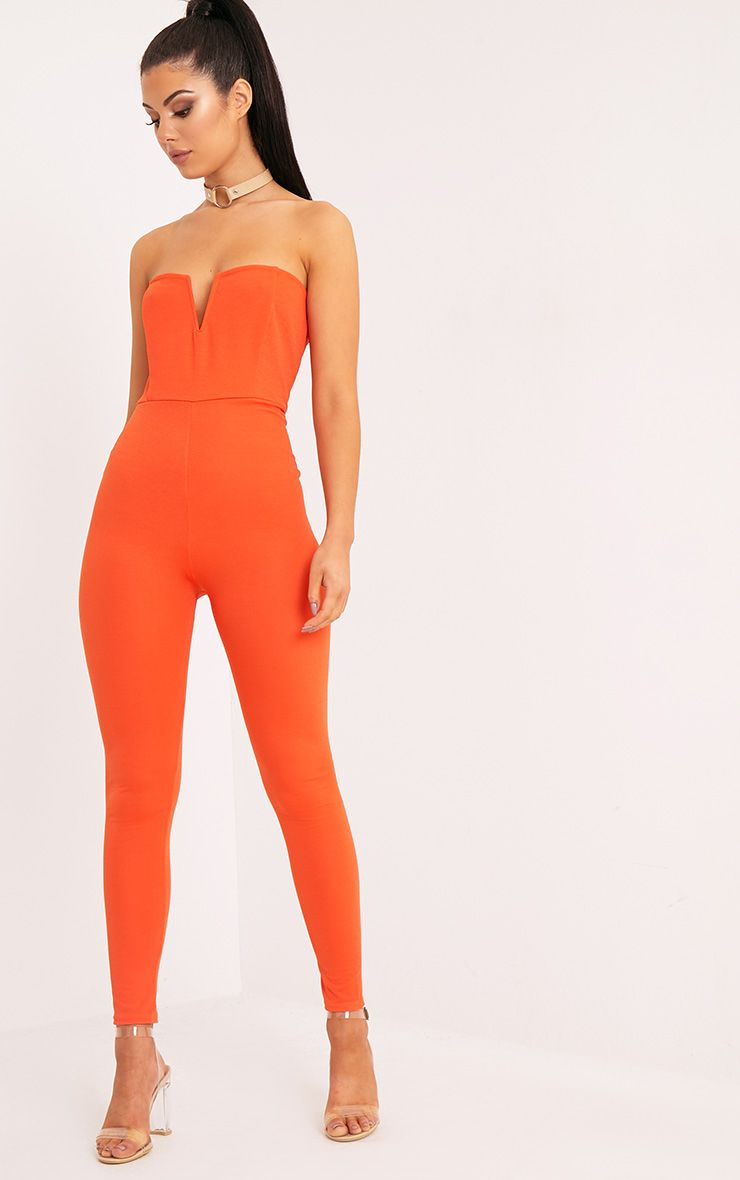 Leoni Orange Crepe Bardot Jumpsuit