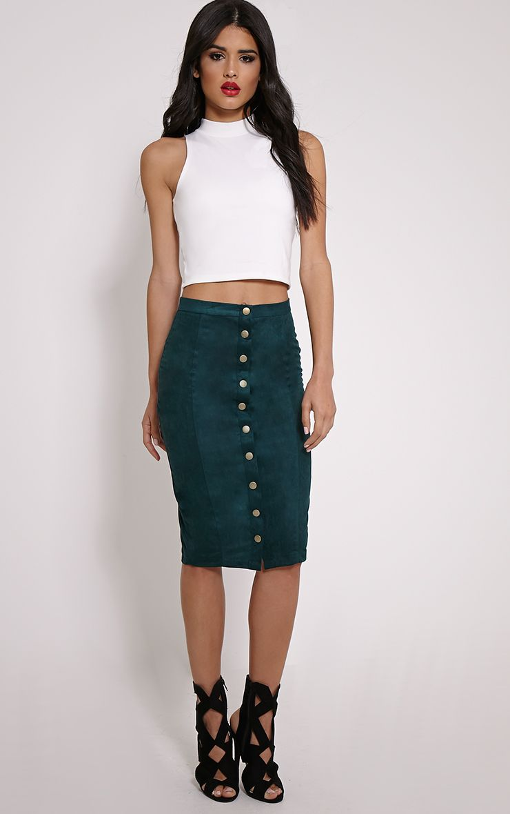 Meemee Green Button Front Suede Midi Skirt 1