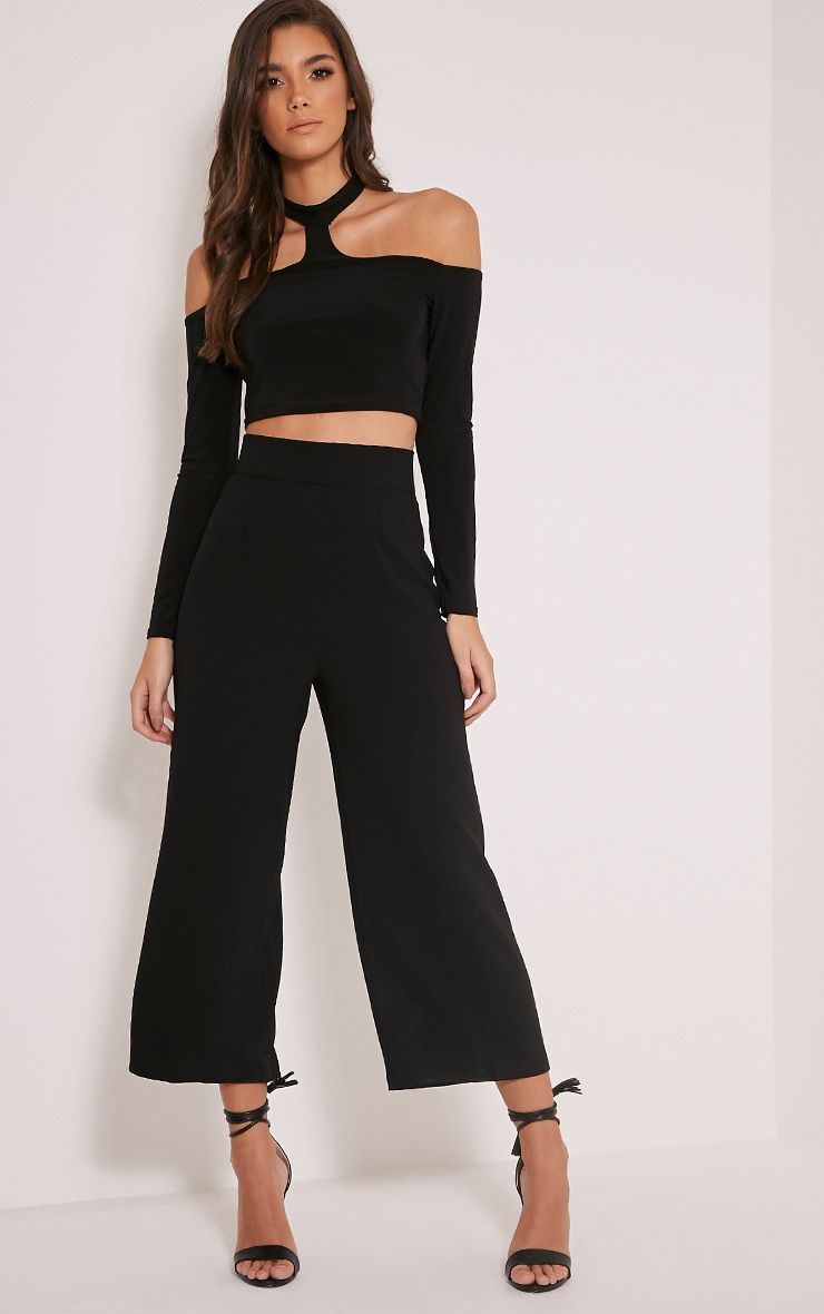 Tazmin Black High Waisted Culottes