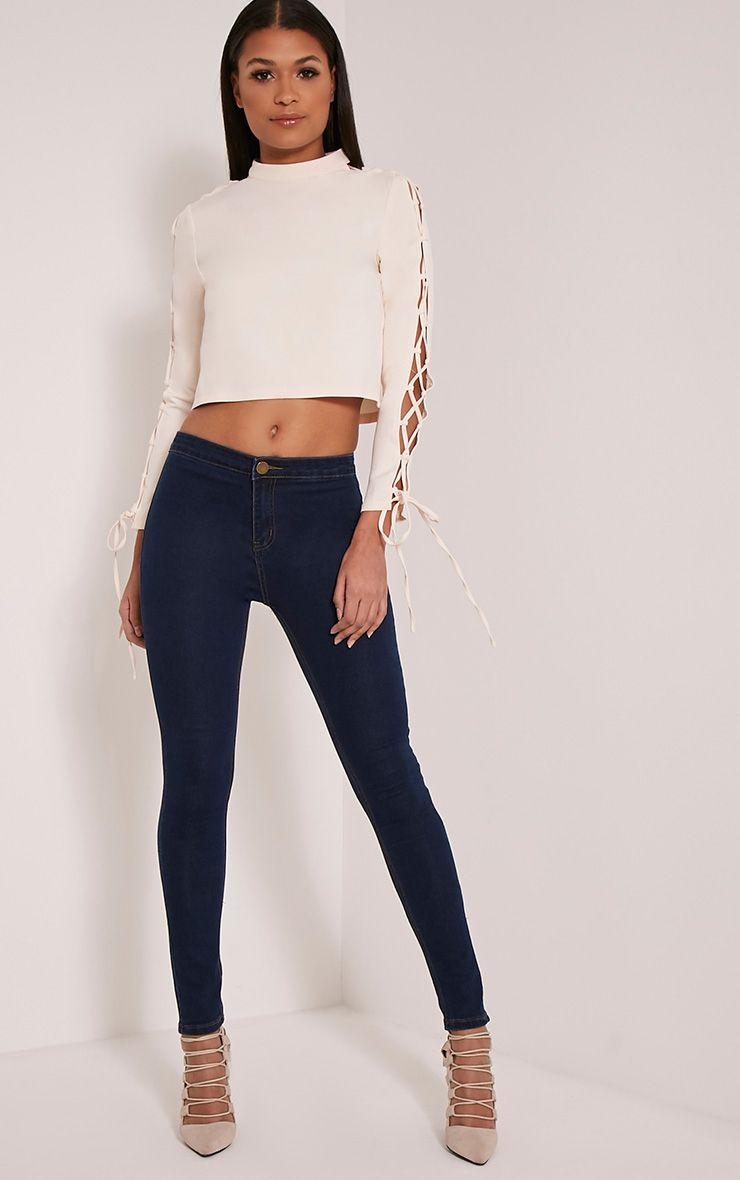 Dark Blue Wash High Waisted Skinny Jeans 1