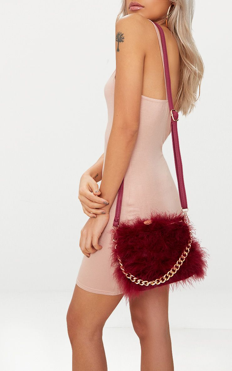 Burgundy Feather Clasp Chain Handle Bag