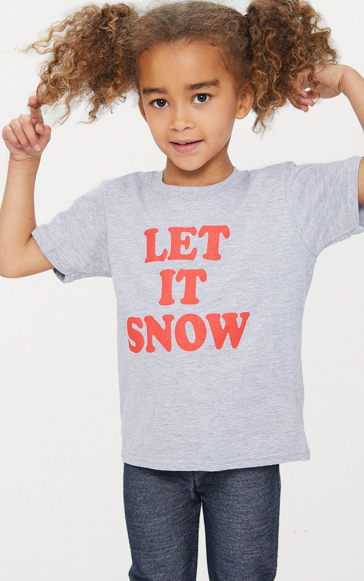 Let It Snow Grey Marl Christmas T Shirt