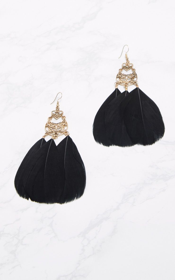 Black Statement Feather Earrings