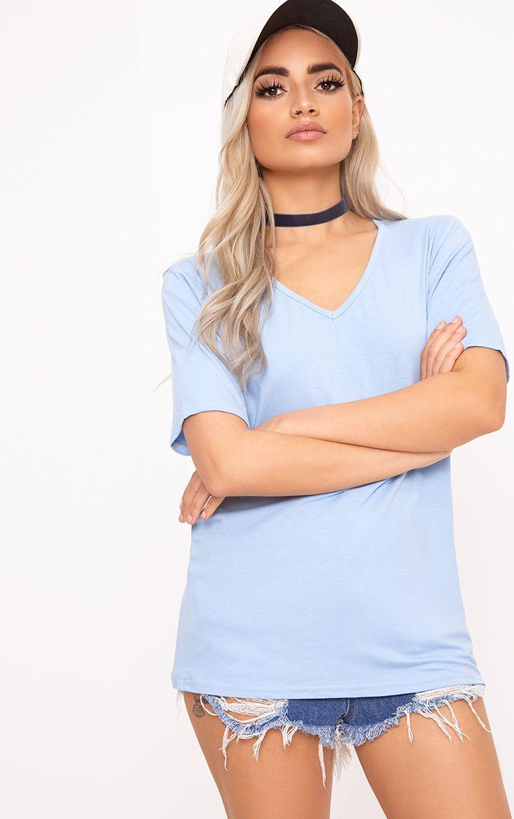 Basic Baby Blue V  Neck T Shirt 1
