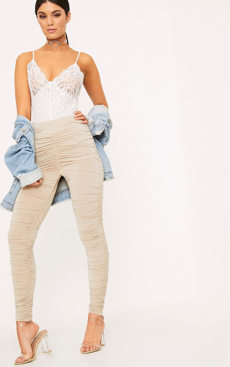 Stone Slinky Ruched Skinny Trousers