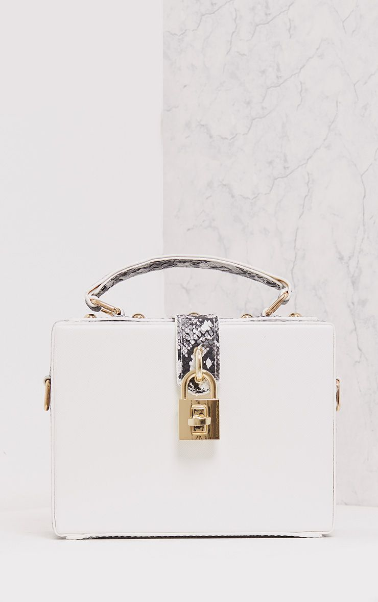 Zara White Padlock Box Bag