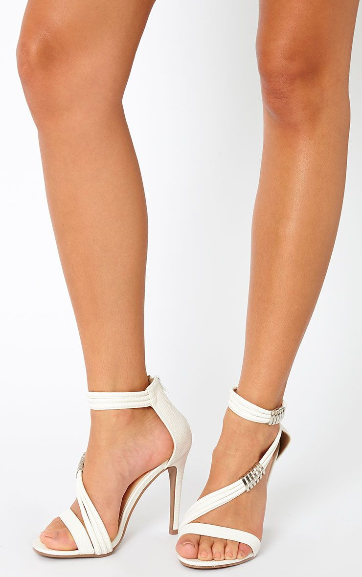 Riley White Cross Strap Heeled Sandals 1