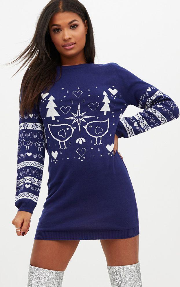 Navy Fairisle Christmas Jumper Dress | PrettyLittleThing