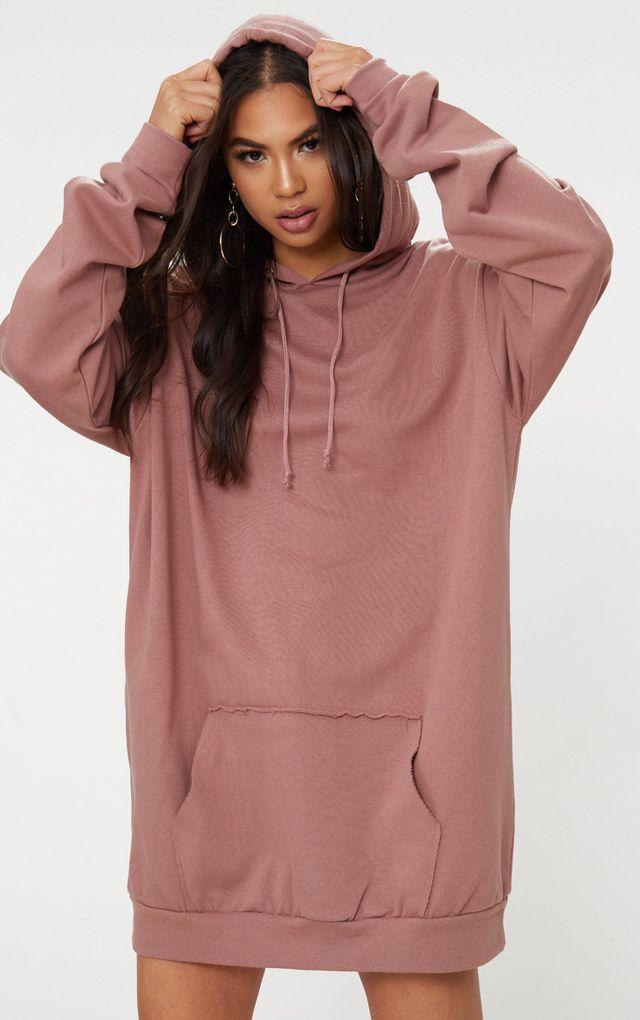 Dark Mauve Oversized Hoodie Dress