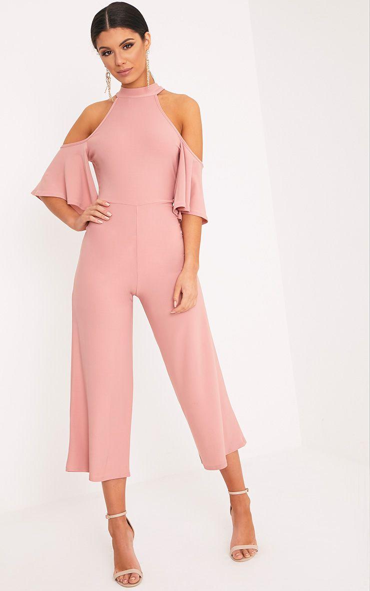 Jaymie Pink Cold Shoulder Cullotte Jumpsuit