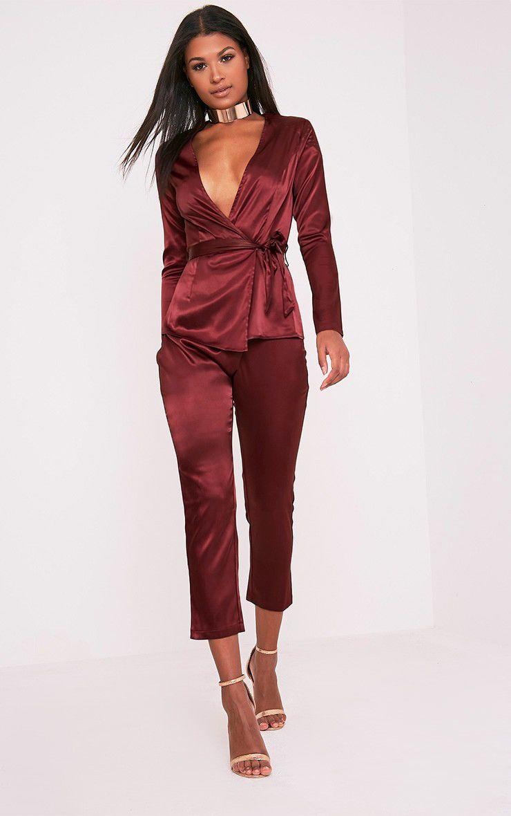 Sanciah Burgundy Satin Wrap Trousers