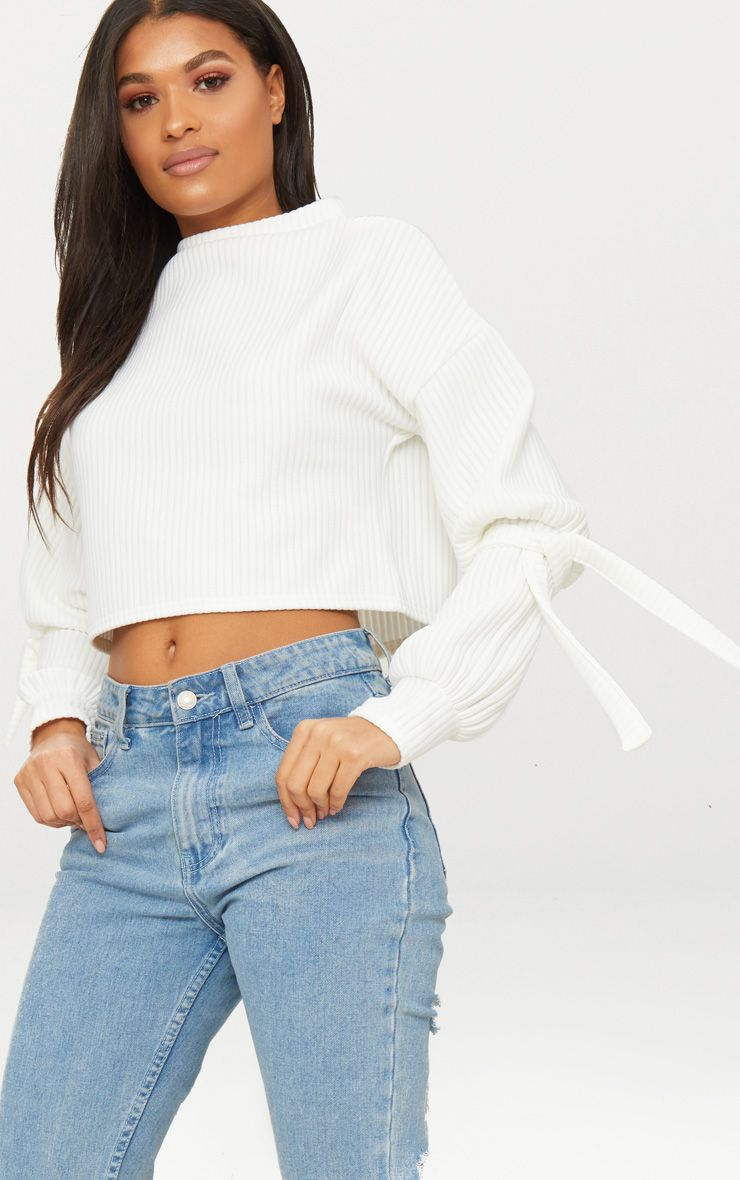 Cream Rib Cuff Detail Sweater