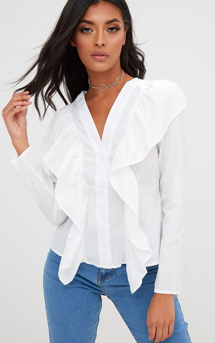 White Frill Front V Neck Shirt