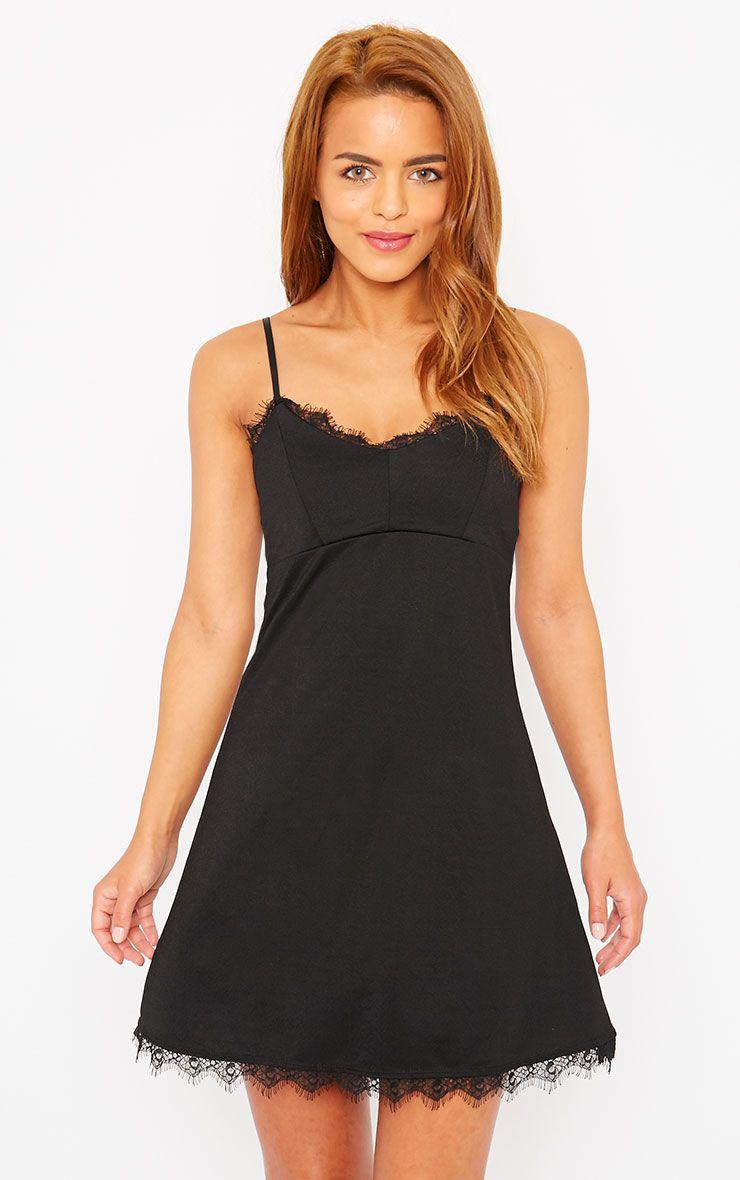 Ida Black Lace Detail Bodycon Dress 1