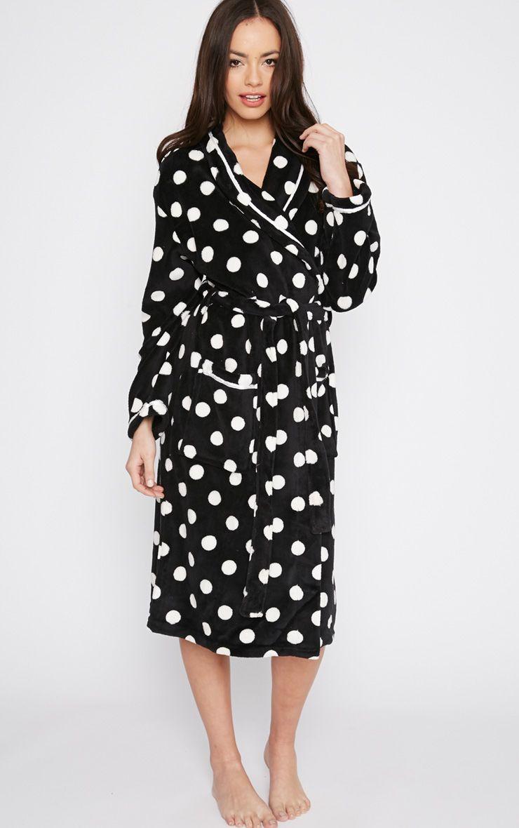 Farri Monochrome Spotty Fleece Dressing Gown  1
