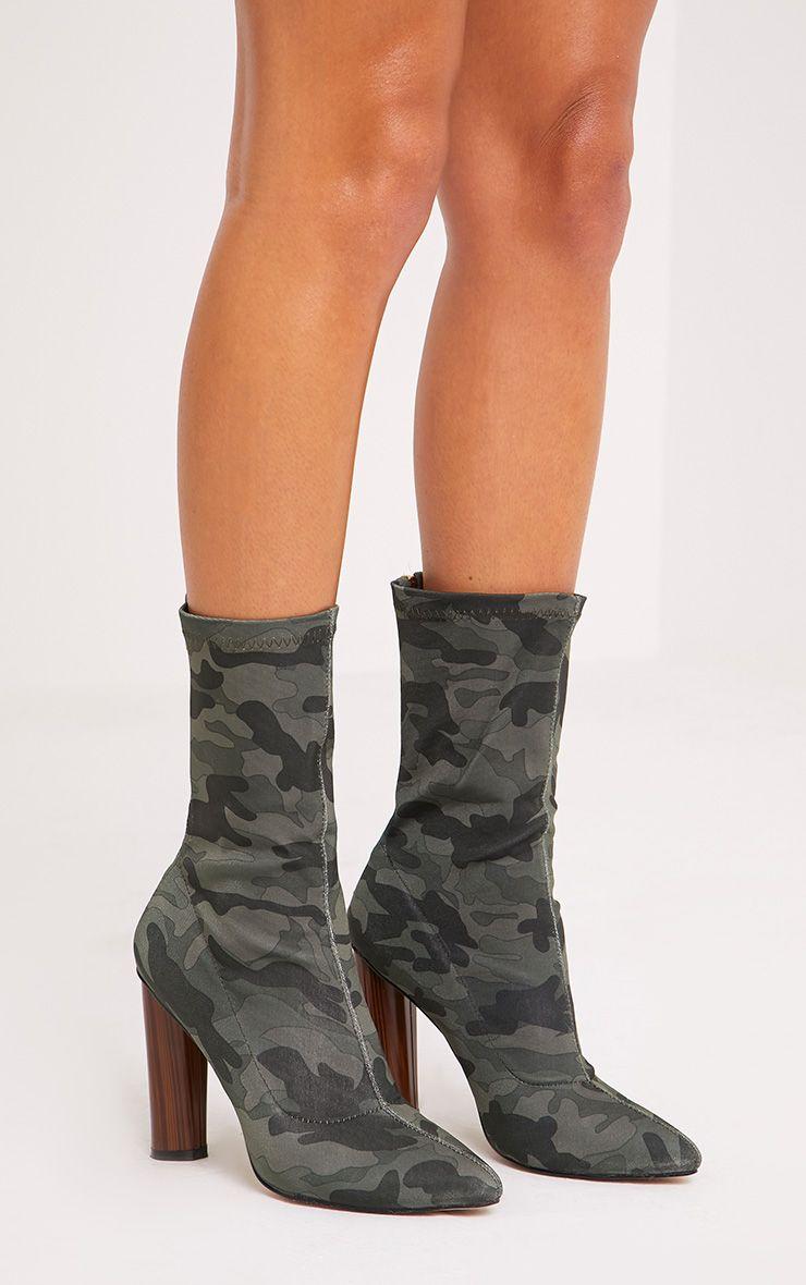 Mikayla Khaki Camouflage Sock Boots