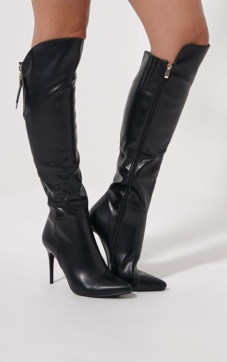Bronte Black Pointed Knee High Boots 1