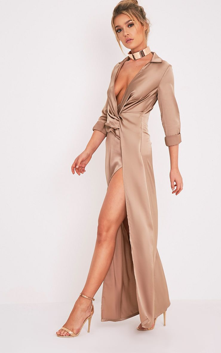 Alyssia Mocha Twist Front Maxi Shirt Dress
