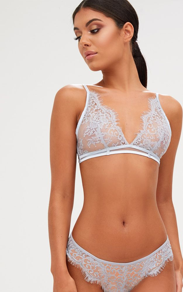 Wendy Ice Grey Sheer Lace Soft Bra