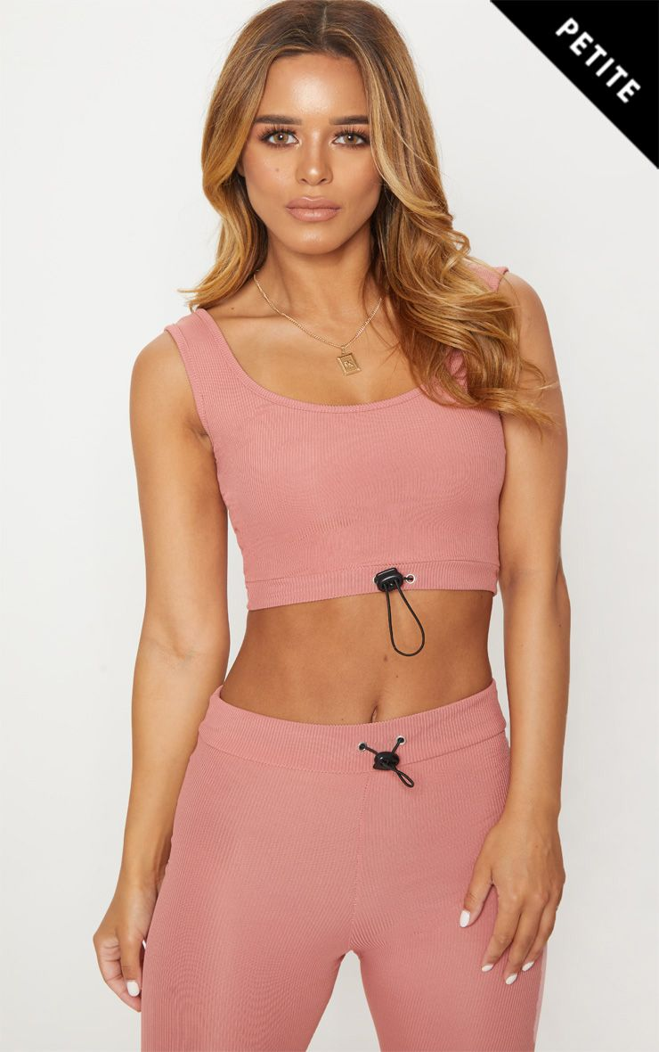 Petite Dusty Pink Ribbed Scoop Neck Crop Top