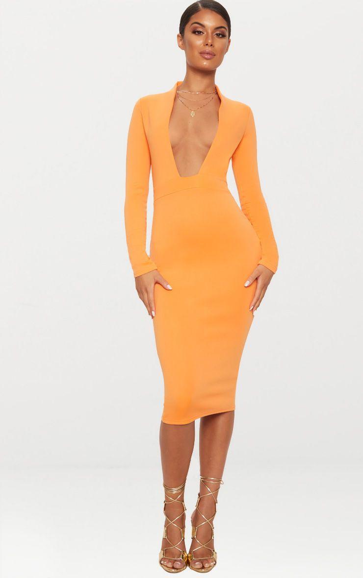 Orange Bonded Scuba Collar Plunge Midi Dress