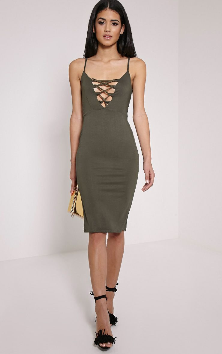 Rommie Khaki Lace Up Midi Dress 1